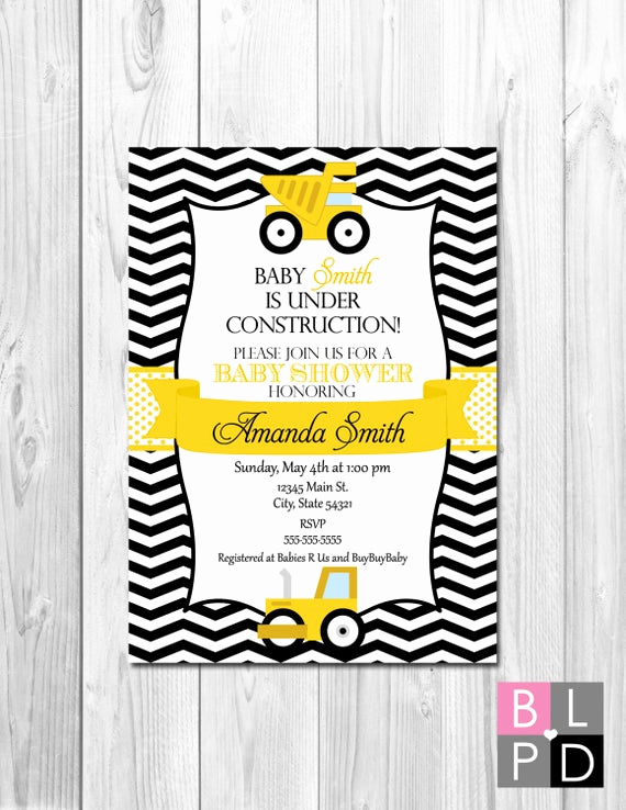 Construction Baby Shower Invitation Templates Awesome Construction Baby Shower Invitation Chevron by Beccaleepaperie