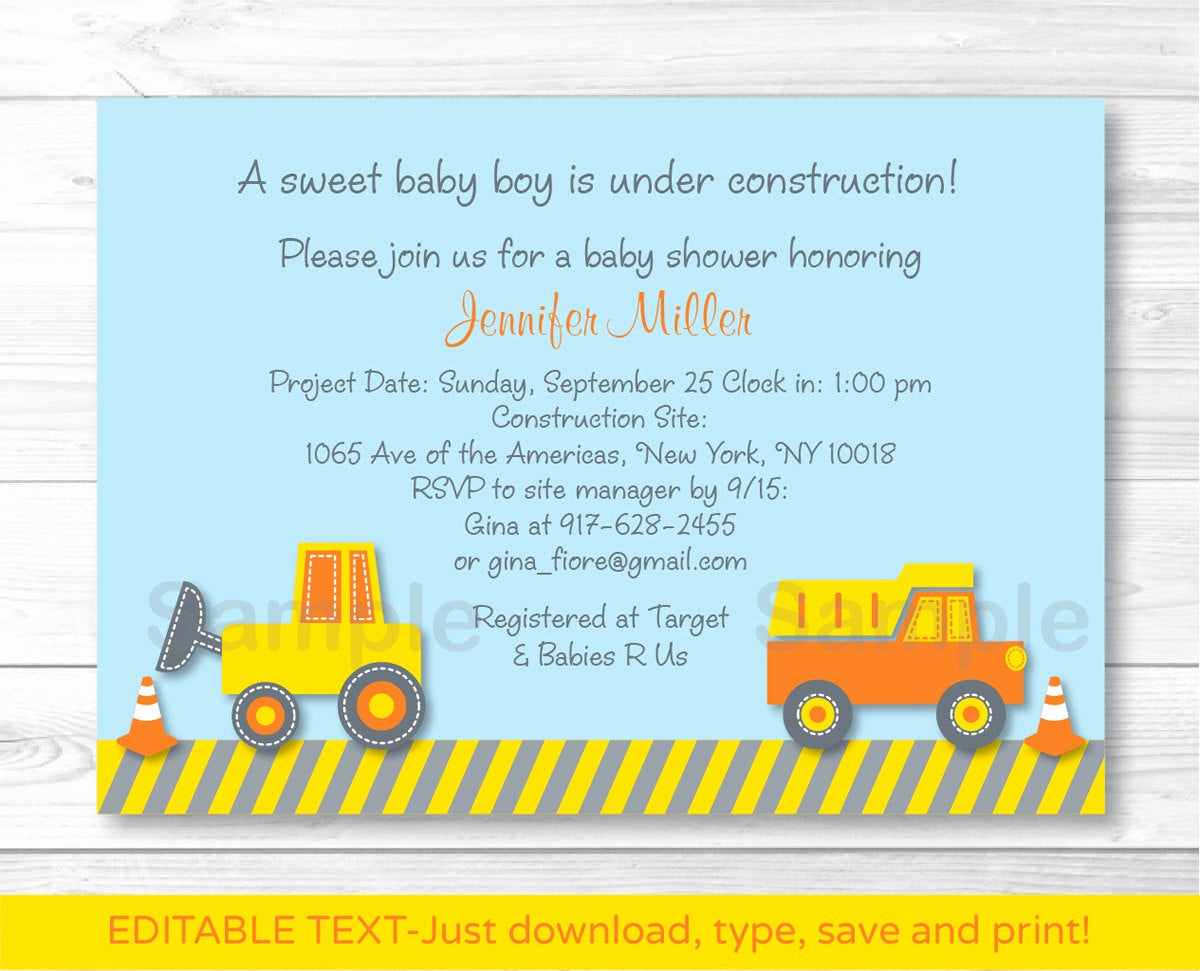 Construction Baby Shower Invitation Templates Beautiful Cute Construction Truck Baby Shower Invitation Construction