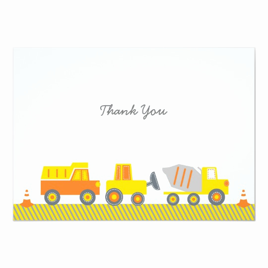 Construction Baby Shower Invitation Templates Best Of Construction Truck Thank You Cards