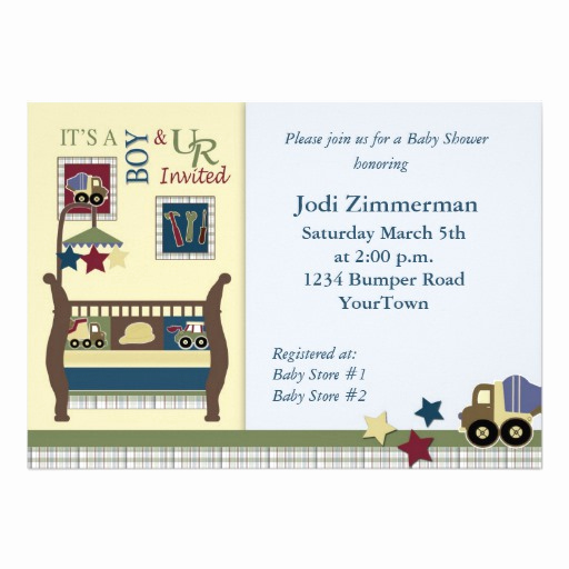 "Construction Baby Shower Invitation Templates Fresh Construction Zone Baby Shower Invitation 5"" X 7"