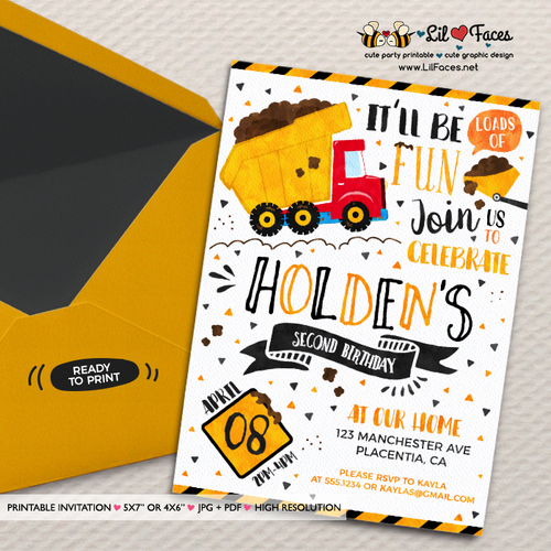 Construction Baby Shower Invitation Templates Inspirational Dump Truck Construction Birthday Party Invitation