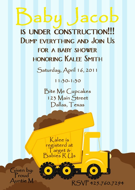 Construction Baby Shower Invitation Templates Lovely Baby Shower Invitation Baby Under by Oliviakatedesigns On Etsy