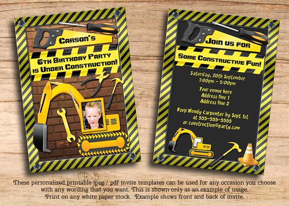Construction Baby Shower Invitation Templates Lovely Items Similar to Boys Construction Birthday Party