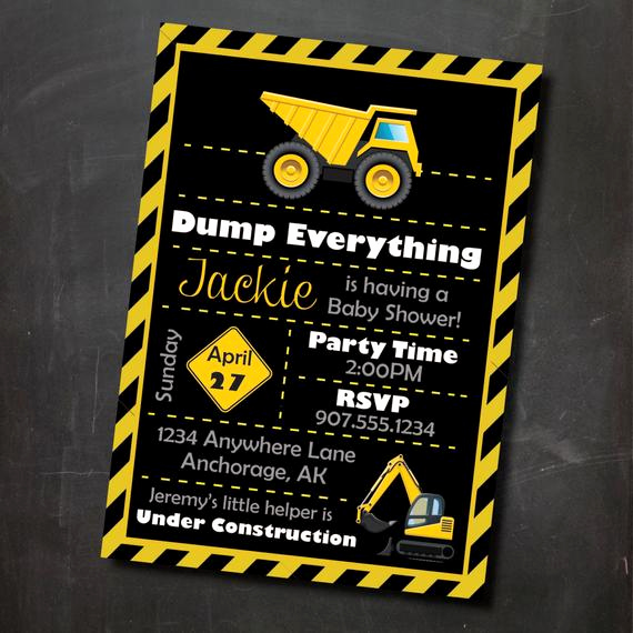 Construction Baby Shower Invitation Templates Lovely Items Similar to Construction themed Printable Baby Shower