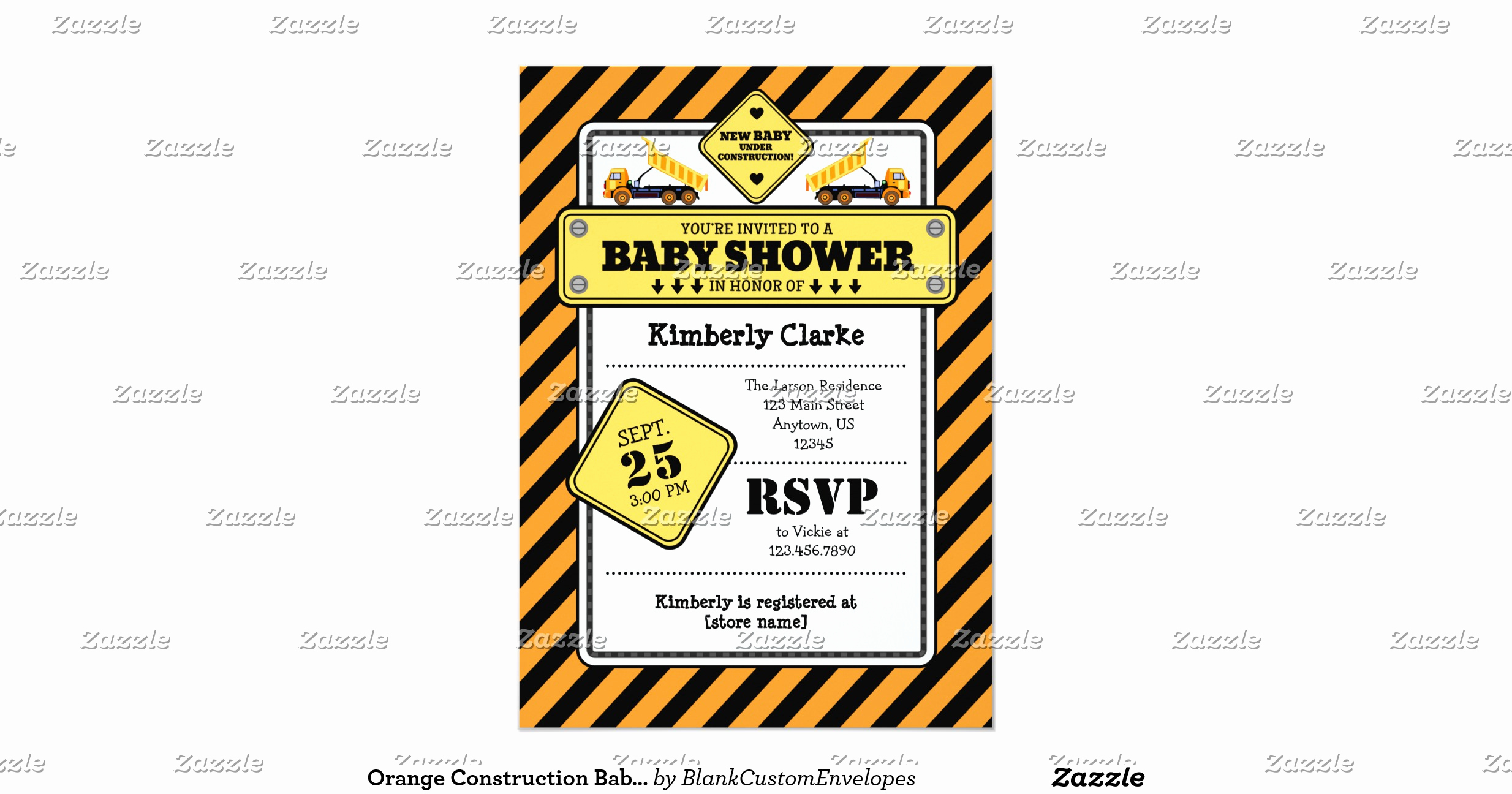 Construction Baby Shower Invitation Templates Lovely orange Construction Baby Shower Invitation