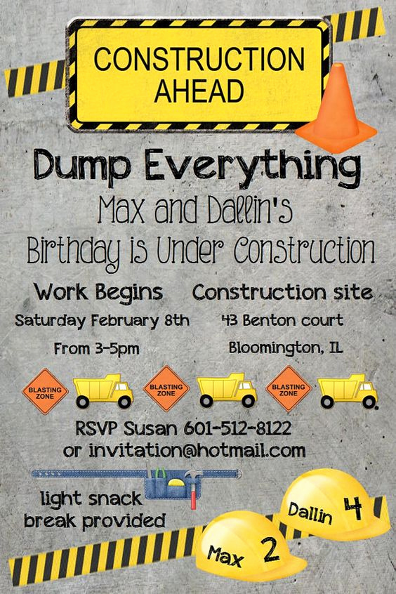 Construction Baby Shower Invitation Templates New Construction theme Construction theme Party and Boy