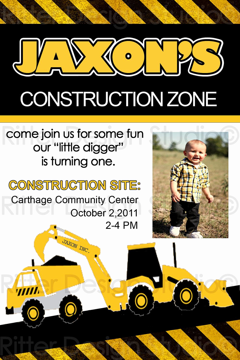 Construction Baby Shower Invitation Templates New Construction Zone Birthday Invitation Printable $16 00