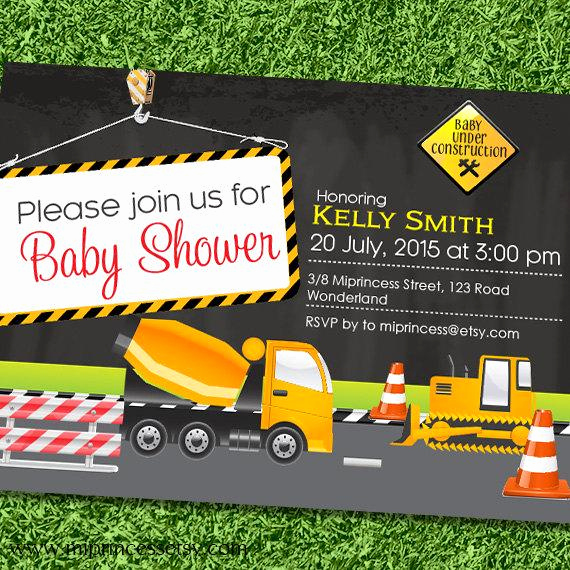 Construction Baby Shower Invitation Templates New Dump Truck Construction Baby Shower Construction by Miprincess