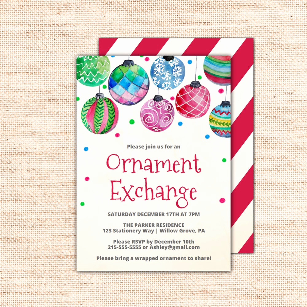 Cookie Exchange Invitation Templates Awesome Holiday Baubles ornament Exchange Invitation Template A