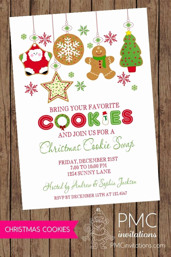 Cookie Exchange Invitation Templates Fresh Christmas Cookie Exchange Swap Holiday Invitation 1 00 Each