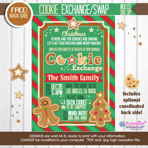 Cookie Exchange Invitation Templates Lovely 25 Christmas Cookie Exchange Party Invitations