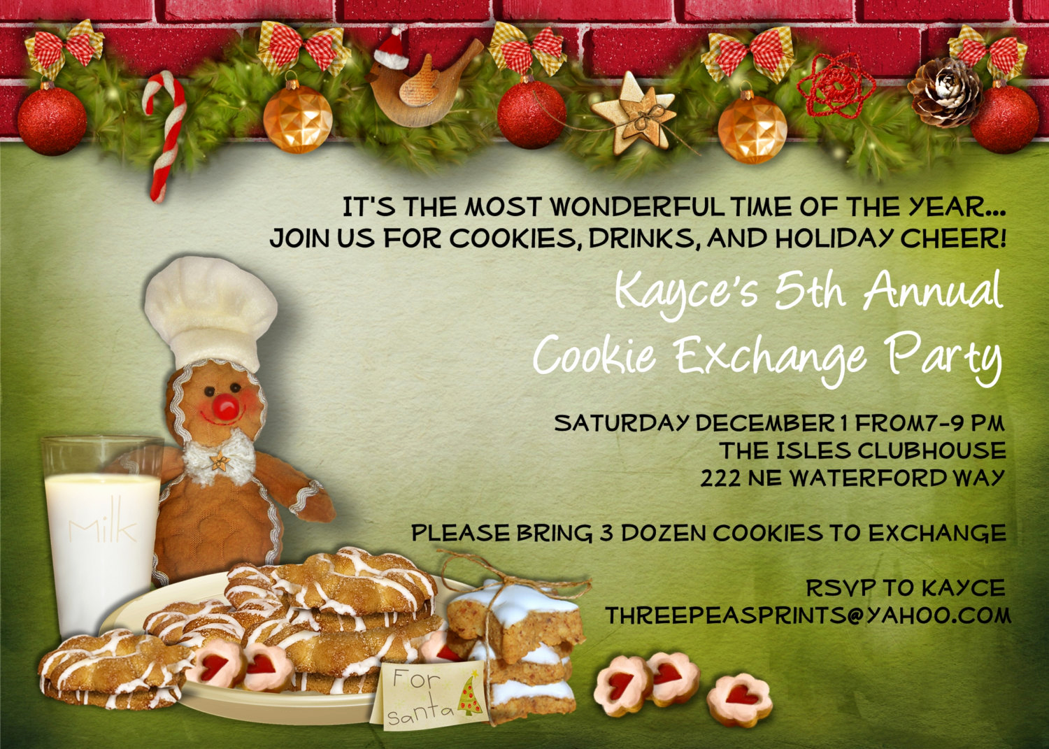 Cookie Exchange Invitation Templates Luxury Christmas Cookie Exchange Swap Party Invitation by 3peasprints