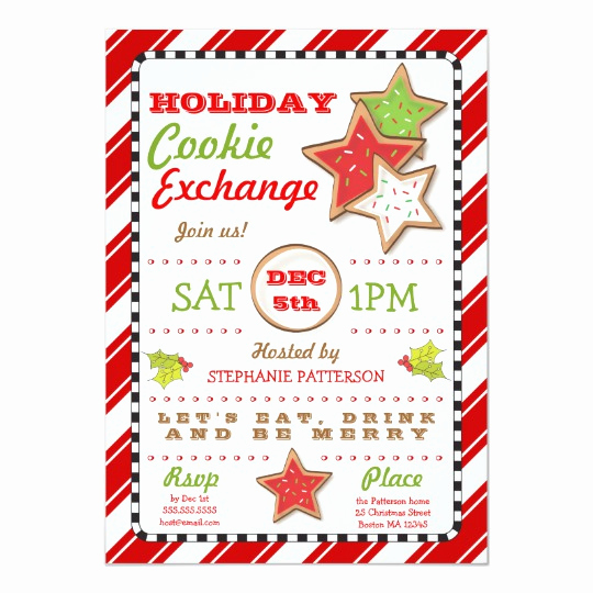 Cookie Exchange Invitation Templates Luxury Holiday Christmas Cookie Exchange Invitation