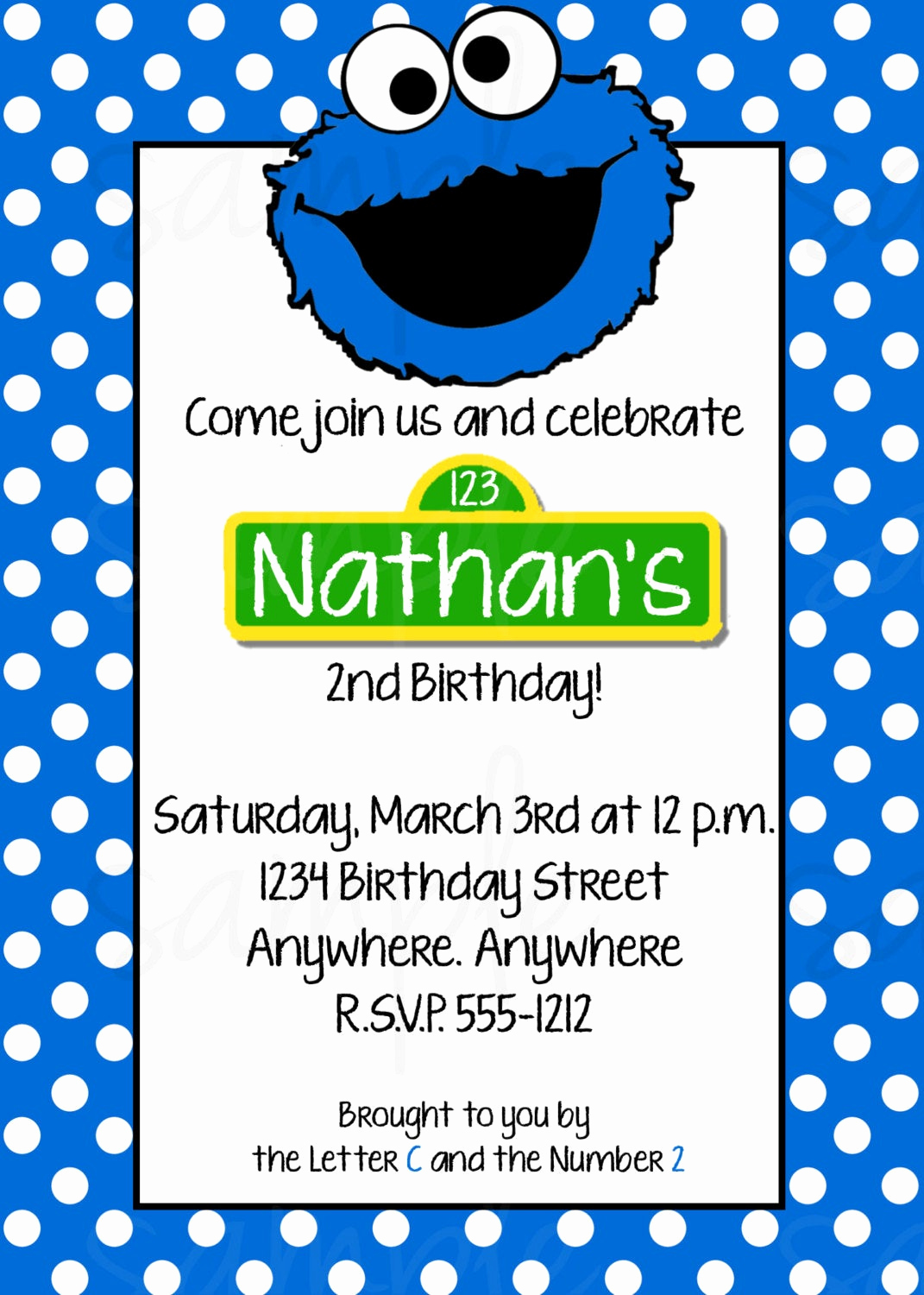 Cookie Monster Invitation Template Awesome Cookie Monster Birthday Invitation