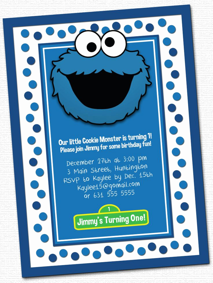 Cookie Monster Invitation Template Beautiful Cookie Monster Invitations
