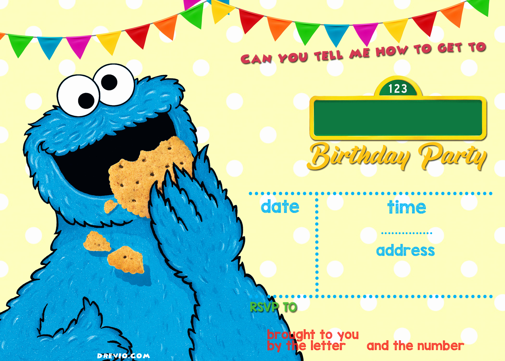 Cookie Monster Invitation Template Fresh Sesame Street Birthday Invitations Line Free