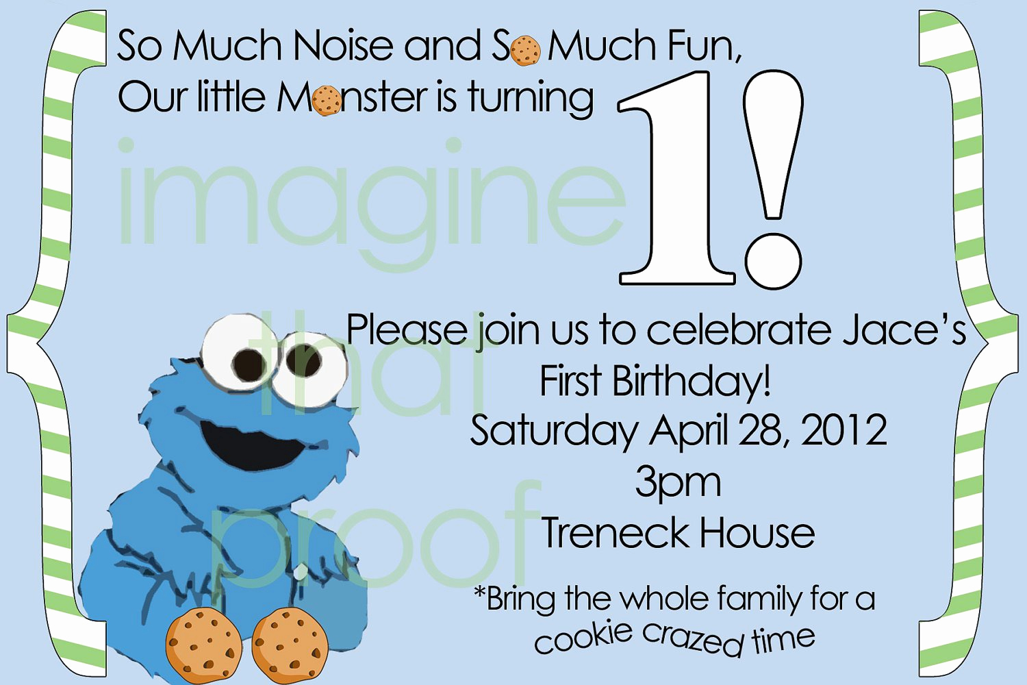 Cookie Monster Invitation Template Inspirational Cookie Monster 1st Birthday Invitations