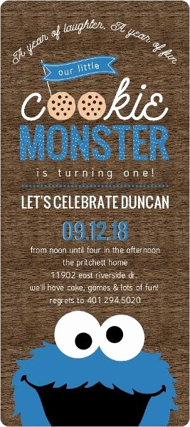 Cookie Monster Invitation Template Lovely Cookie Monster First Birthday Invitation