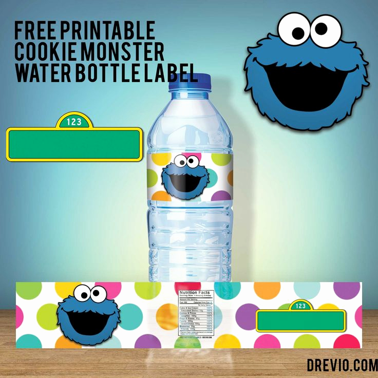 Cookie Monster Invitation Template New Free Printable Cookie Monster Water Bottle