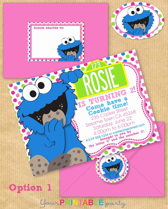 Cookie Monster Invitation Template New Girls Cookie Monster Party Invitation 5x7 by