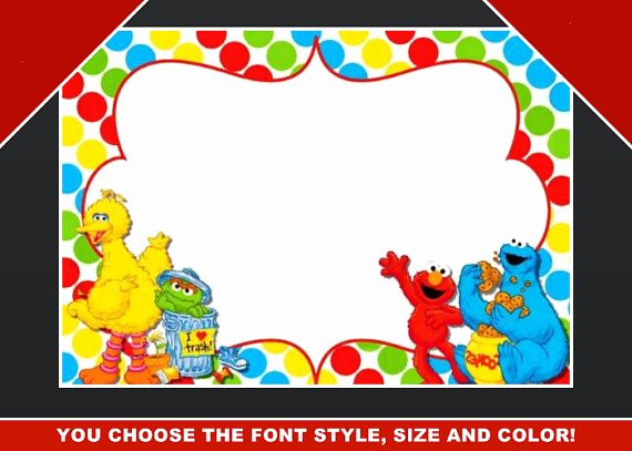 Cookie Monster Invitation Template New Sesame Street Blank Invitation Birthday Thank You Note