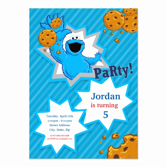 Cookie Monster Invitation Template Unique Cookie Monster Birthday Invitation
