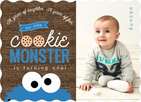 Cookie Monster Invitation Template Unique Cookie Monster First Birthday Invitations by