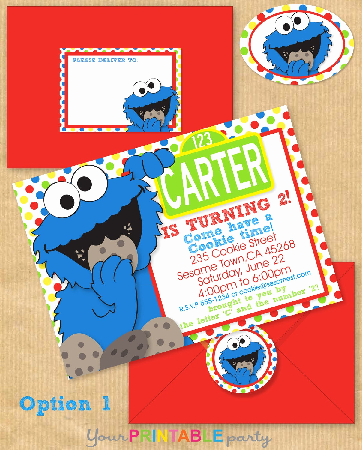 Cookie Monster Invitation Template Unique Cookie Monster Party Invitation 5x7 with Address Labels