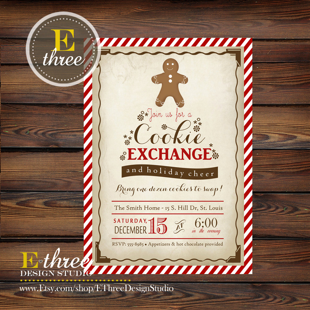 Cookie Swap Invitation Template Elegant Christmas Cookie Exchange Invitation by Ethreedesignstudio