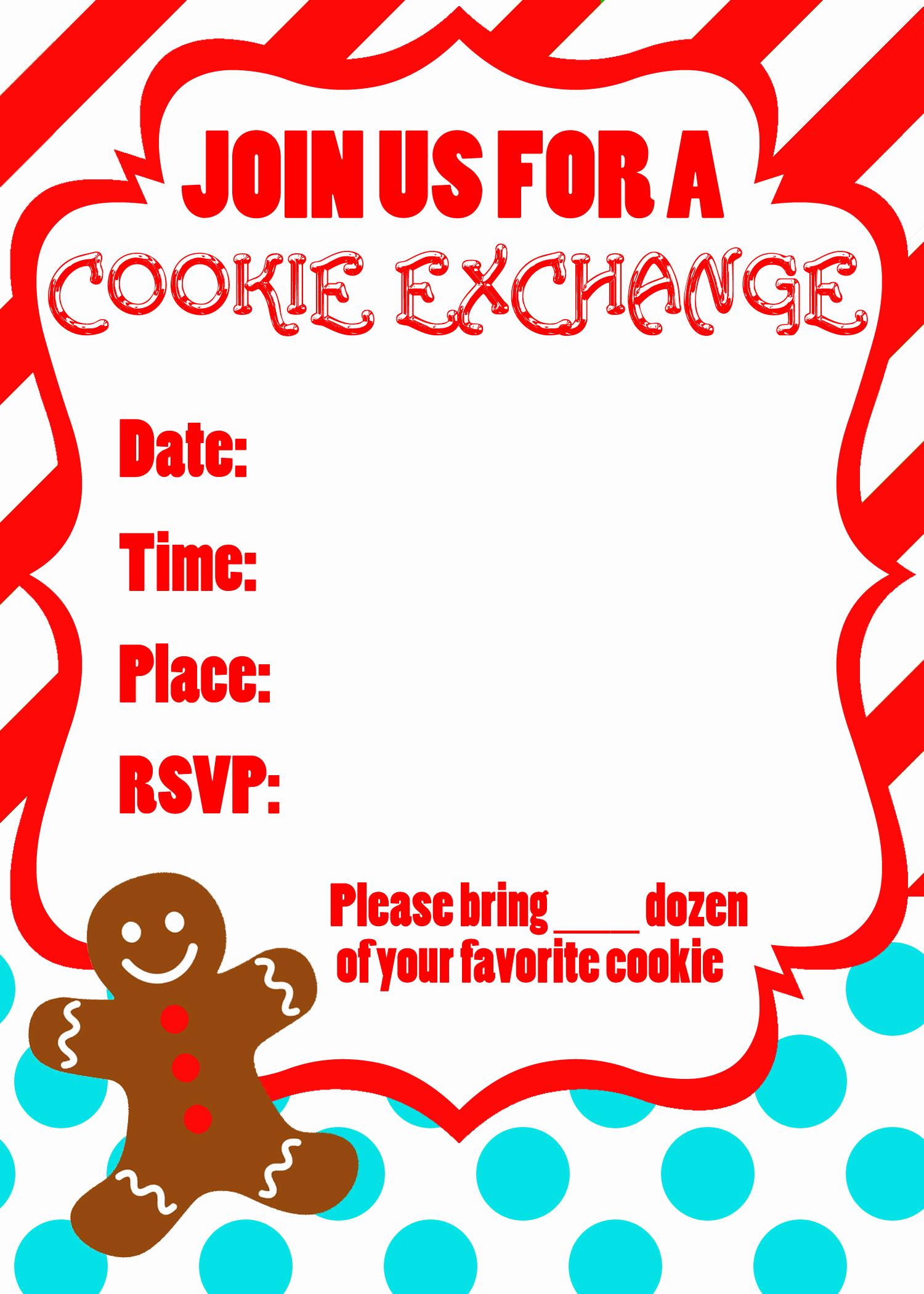 Cookie Swap Invitation Template Elegant Cookie Exchange Party Free Printables