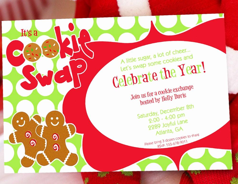 Cookie Swap Invitation Template Elegant Cookie Swap Christmas Party Invitation by Amandaspartiestogo