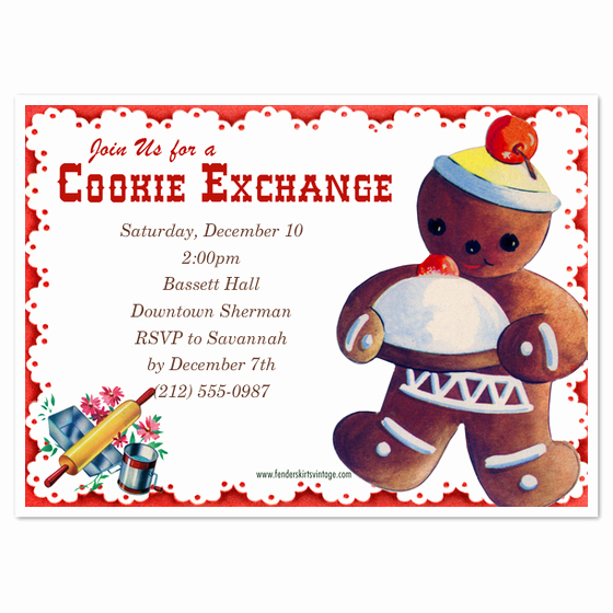 Cookie Swap Invitation Template Elegant Vintage Cookie Exchange Invitations & Cards On Pingg
