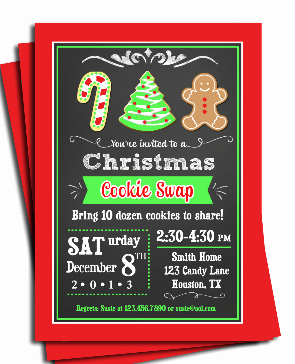 Cookie Swap Invitation Template Fresh Christmas Cookie Invitation Printable or Printed with Free