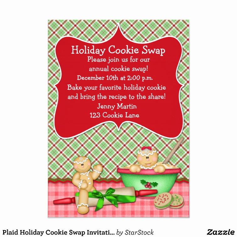Cookie Swap Invitation Template Luxury Plaid Holiday Cookie Swap Invitation