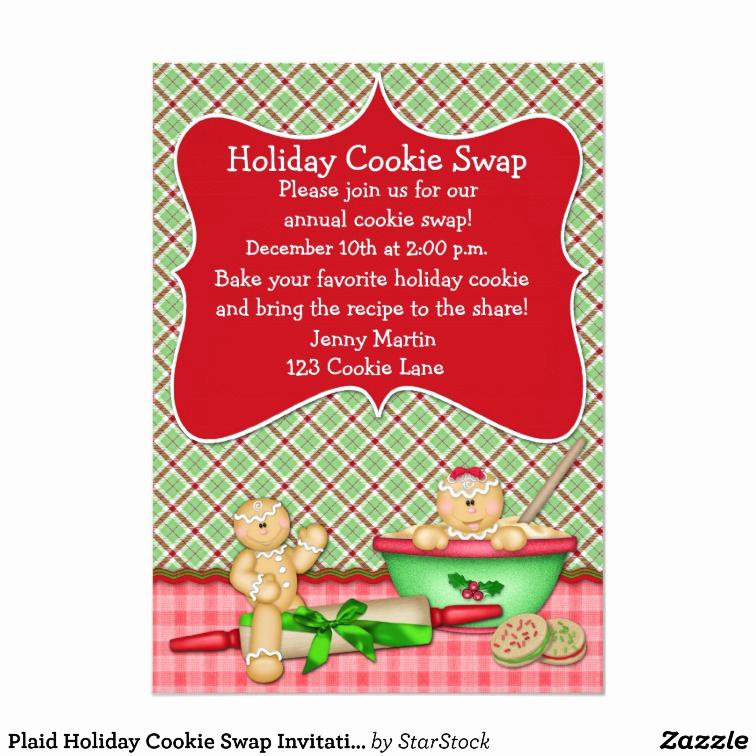 Cookie Swap Invitation Template Luxury Plaid Holiday Cookie Swap Invitation
