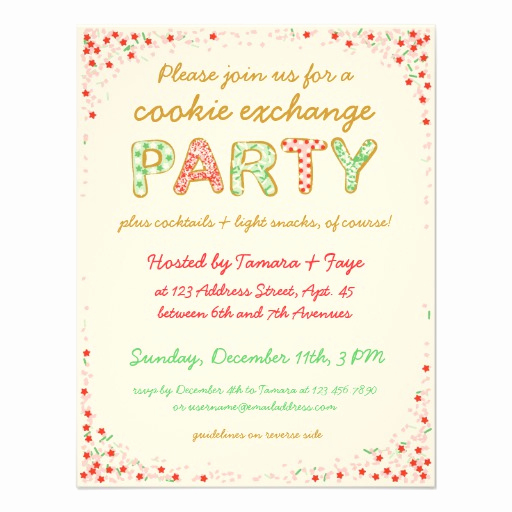 "Cookie Swap Invitation Template New Cookie Exchange Swap Party Invite W Instructions 4 25"" X"