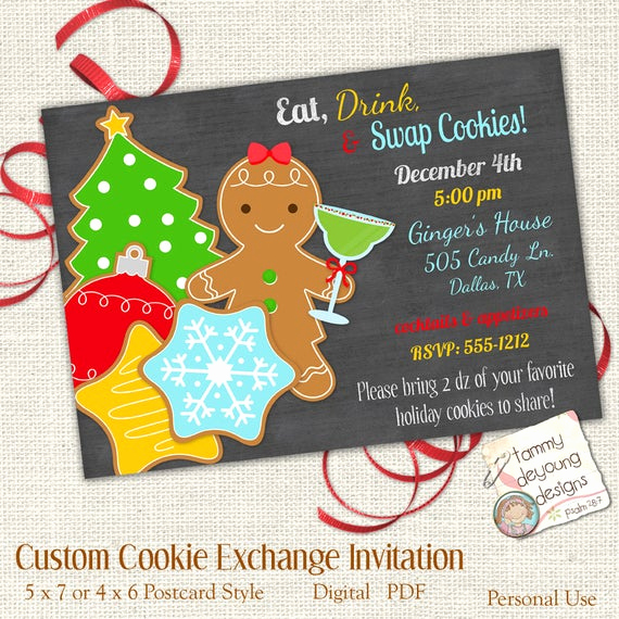 Cookie Swap Invitation Template Unique Christmas Cookie Exchange Invitation Customized Cookie Swap