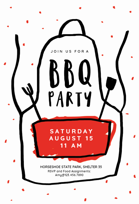 Cookout Invitation Template Free Fresh Apron Bbq Party Invitation Template Free
