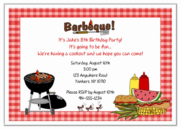 Cookout Invitation Template Free Fresh Bbq Barbeque Cookout Party Invitations 2