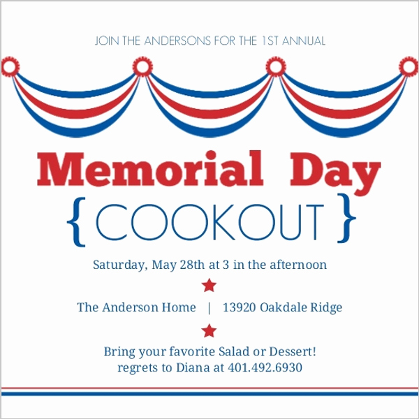 Cookout Invitation Template Free Inspirational Waving Flags Memorial Day Invitation
