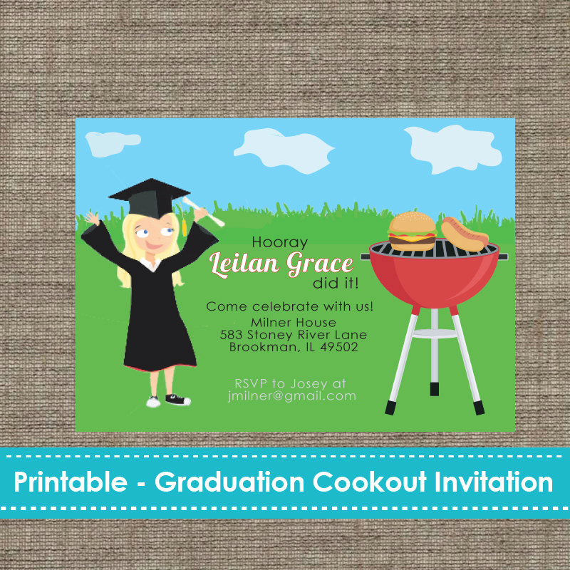 Cookout Invitation Template Free New Graduation Cookout Party Invitation Diy Printable