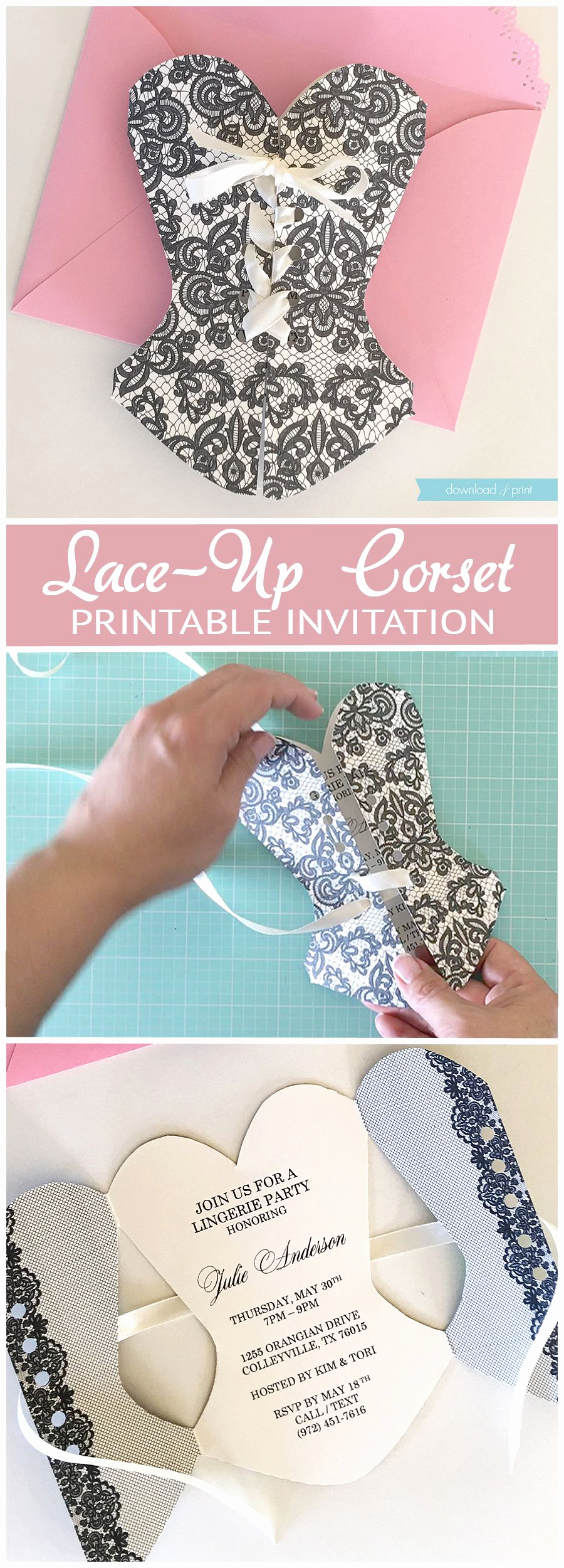 Corset Invitation Template Free Awesome Diy Lace Up Corset Invitation that S so Easy to Make if
