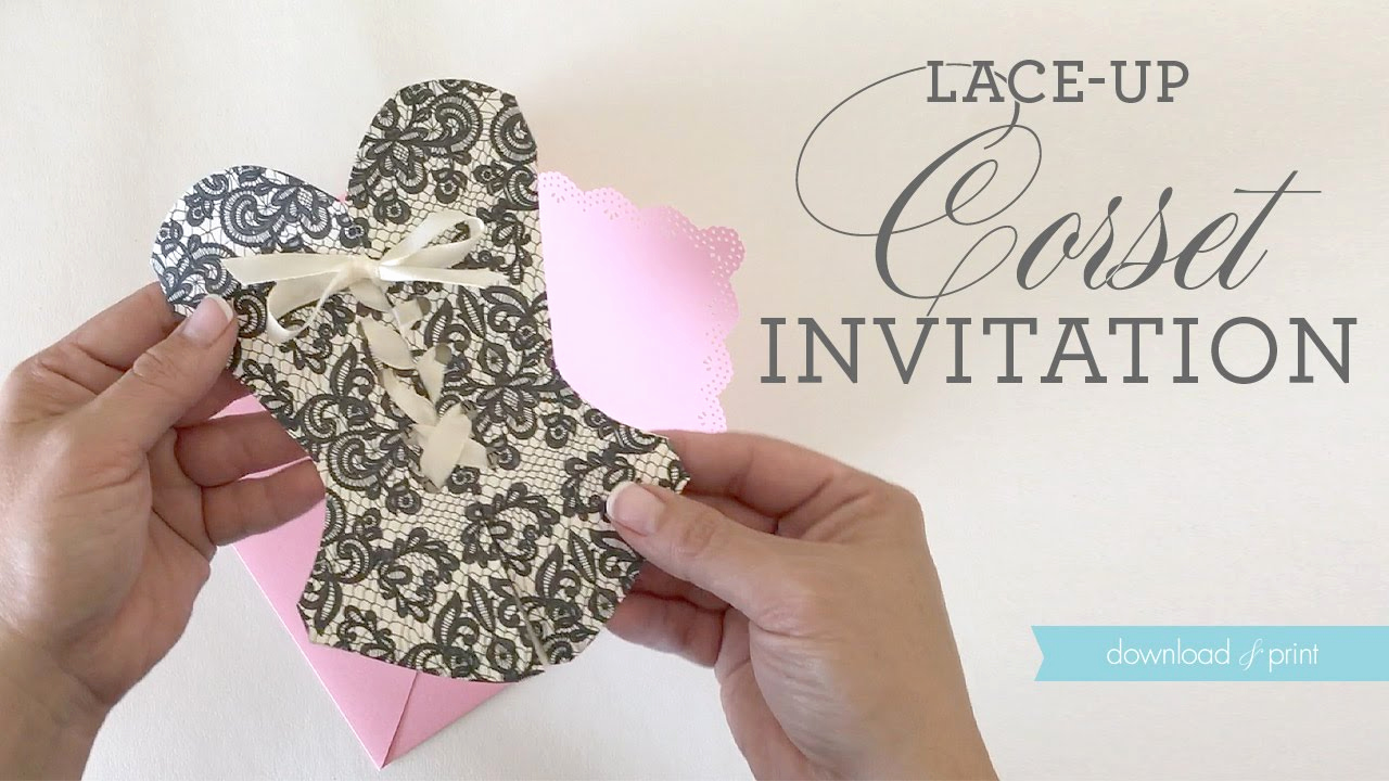 Corset Invitation Template Free Inspirational Diy Lace Up Corset Invitation Video