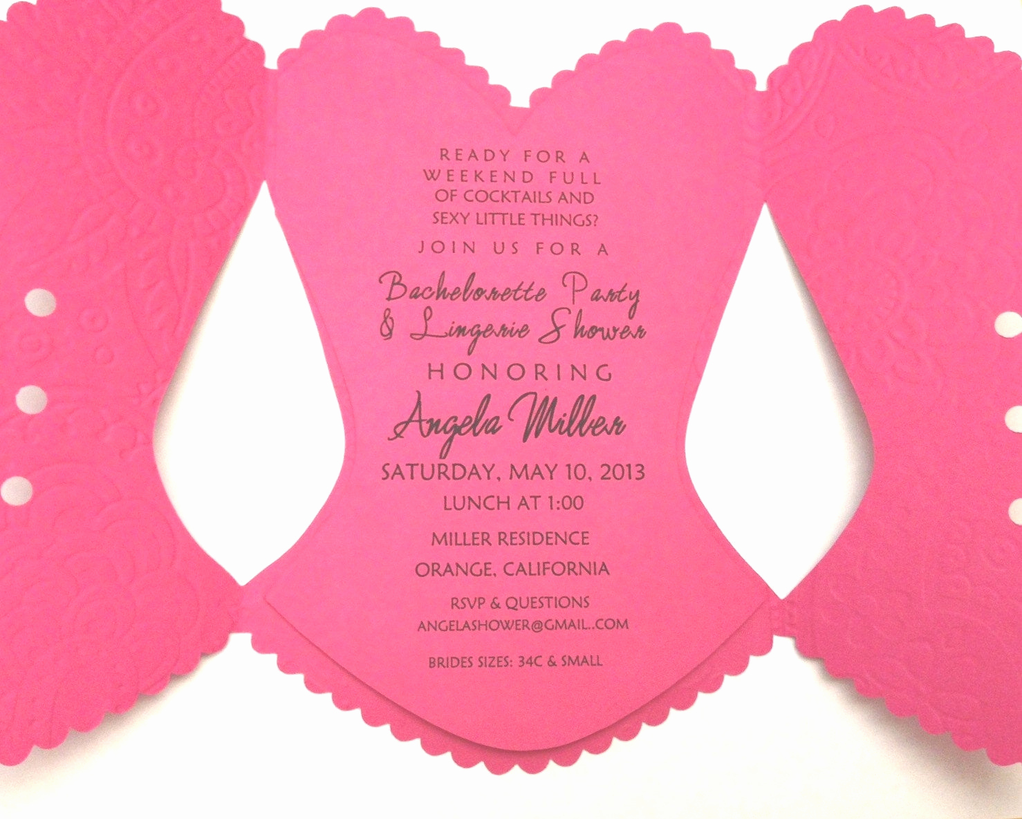 Corset Invitation Template Free Lovely Corset Bridal Shower Bachelorette Invitation Pink with Lace