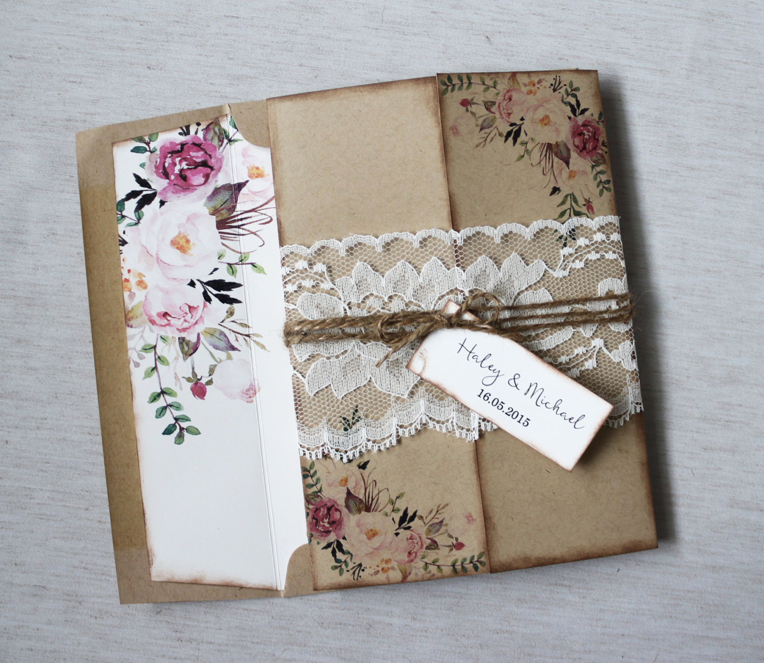 Country Wedding Invitation Ideas Beautiful Rustic Wedding Invitation Lace Wedding Invitation Floral