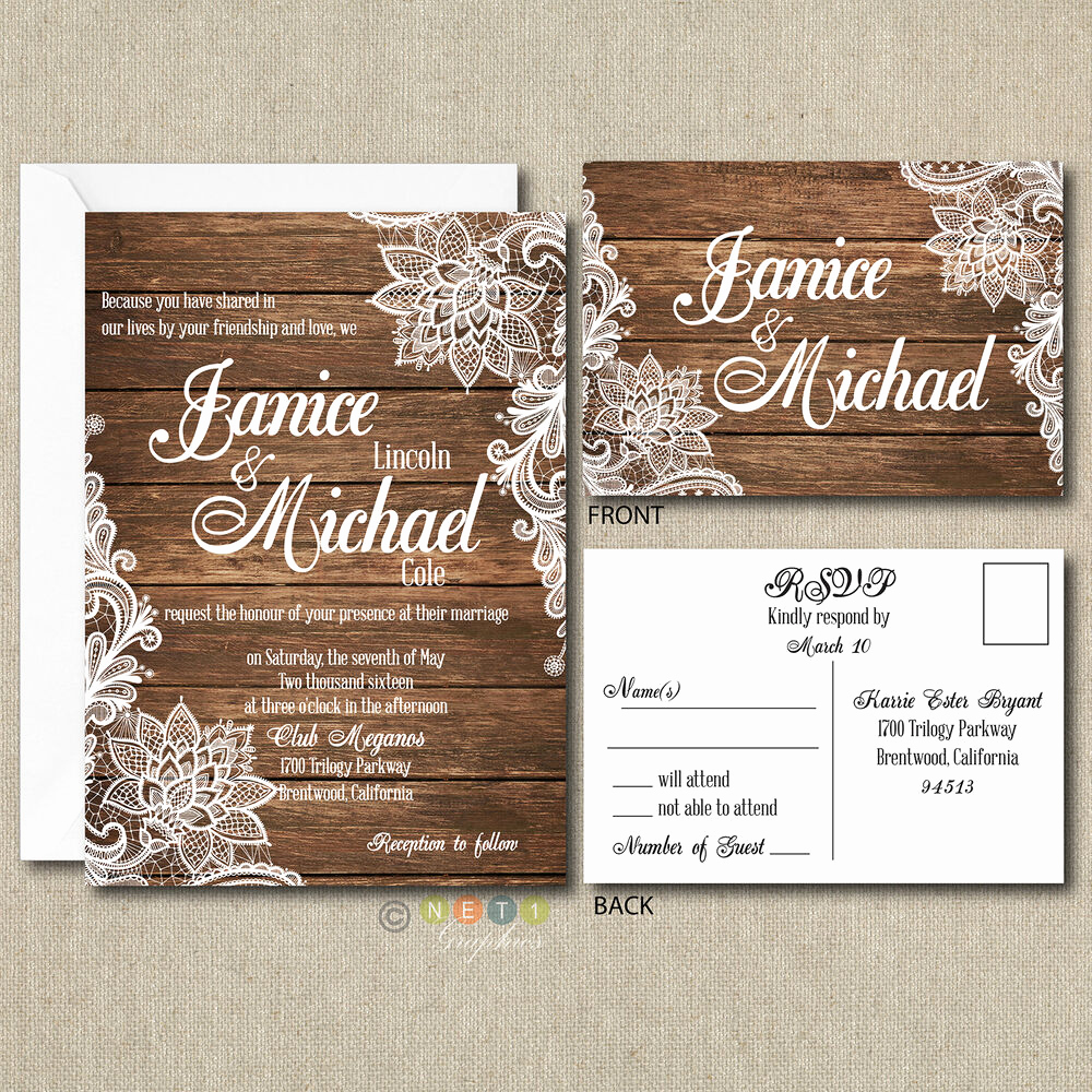 Country Wedding Invitation Ideas Best Of 100 Personalized Country Rustic Lace Wedding Invitations
