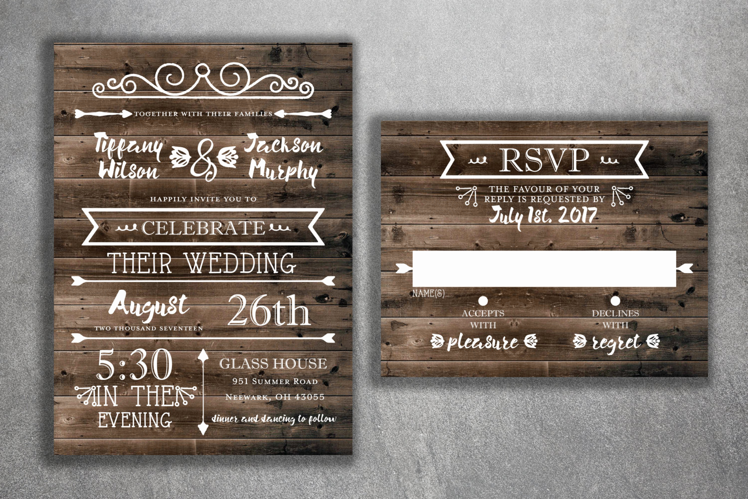Country Wedding Invitation Ideas Luxury Country Wedding Invitations Set Printed Rustic Wedding