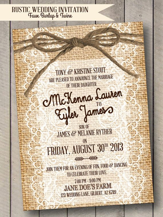 Country Wedding Invitation Wording Awesome Rustic Wedding Invitation Burlap Lace & Twine Faux