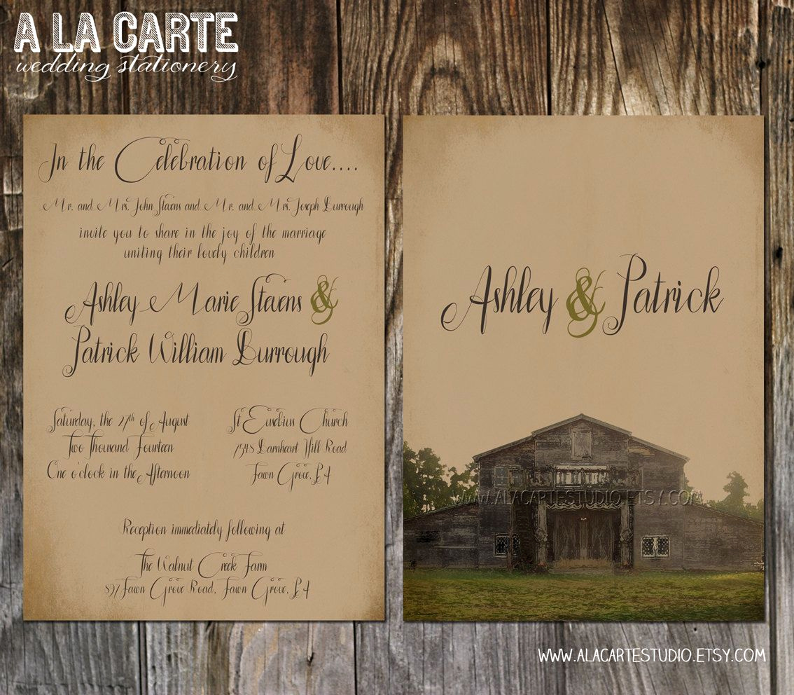 Country Wedding Invitation Wording Inspirational Rustic Barn Wedding Invitation Suite Invitation and Rsvp