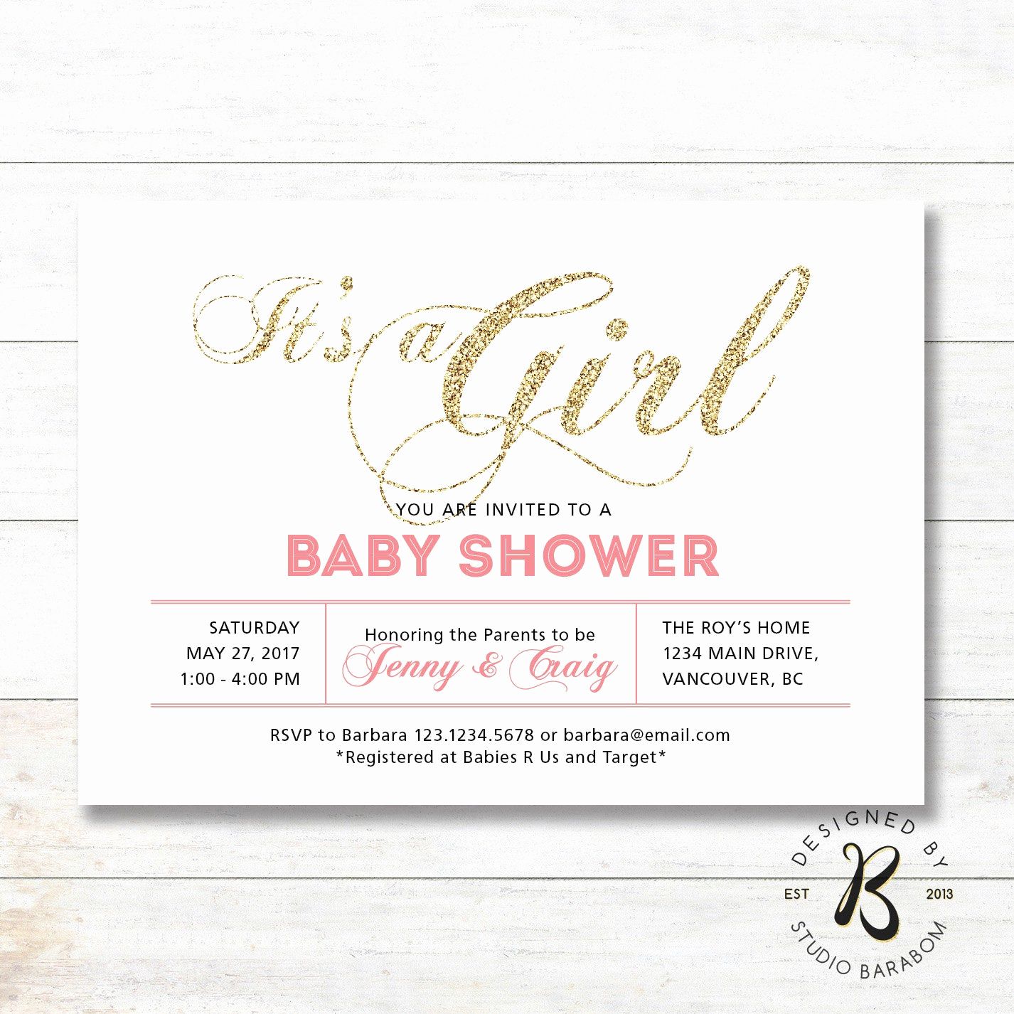 Couple Baby Shower Invitation Beautiful Girl Baby Shower Invitation Coed Couples Baby Shower
